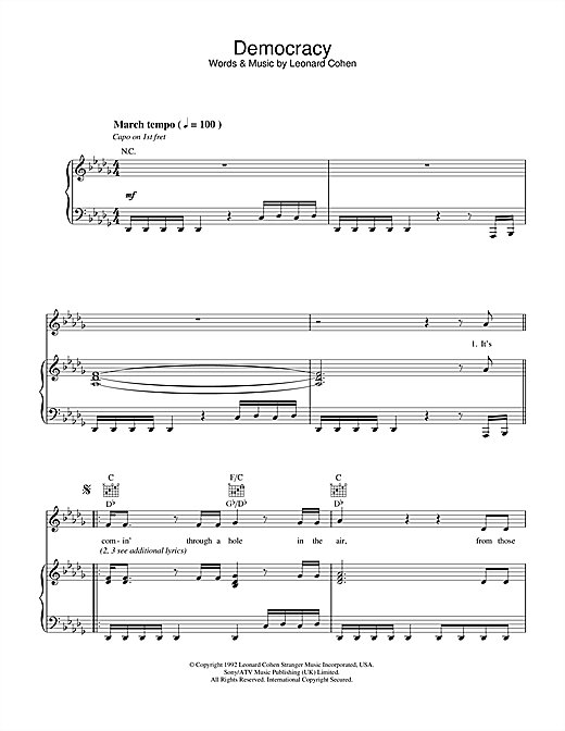 Democracy Sheet Music