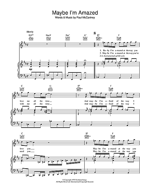 Maybe I'm Amazed Sheet Music