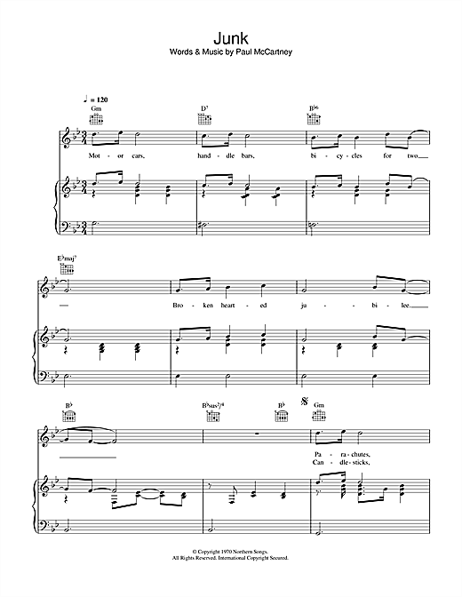 Junk (Piano, Vocal & Guitar (Right-Hand Melody))