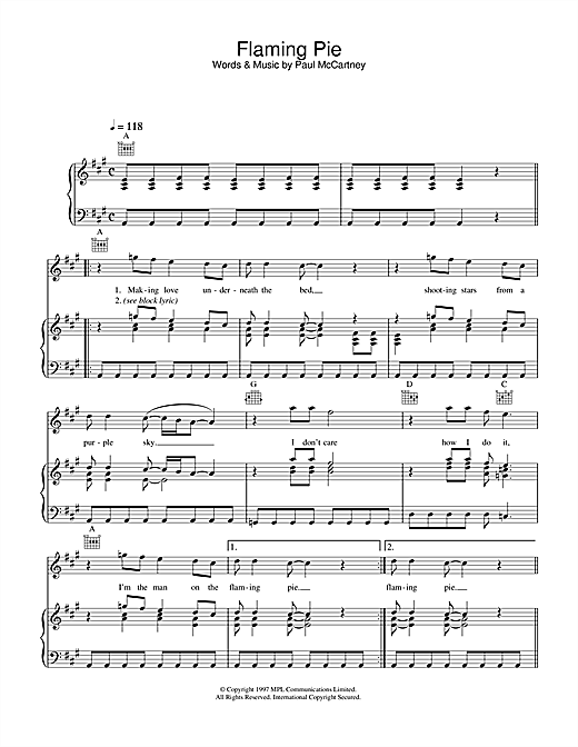 Flaming Pie Sheet Music