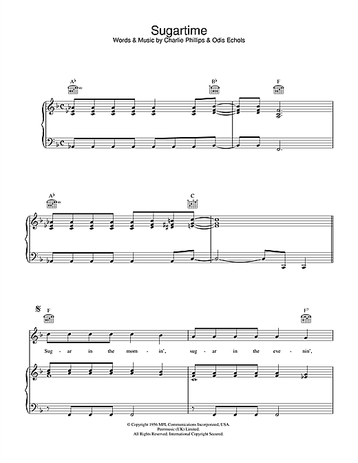 Sugartime Sheet Music