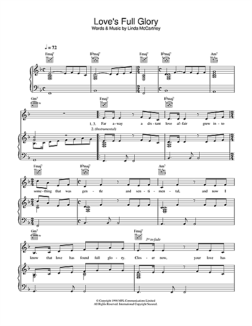 Love's Full Glory Sheet Music
