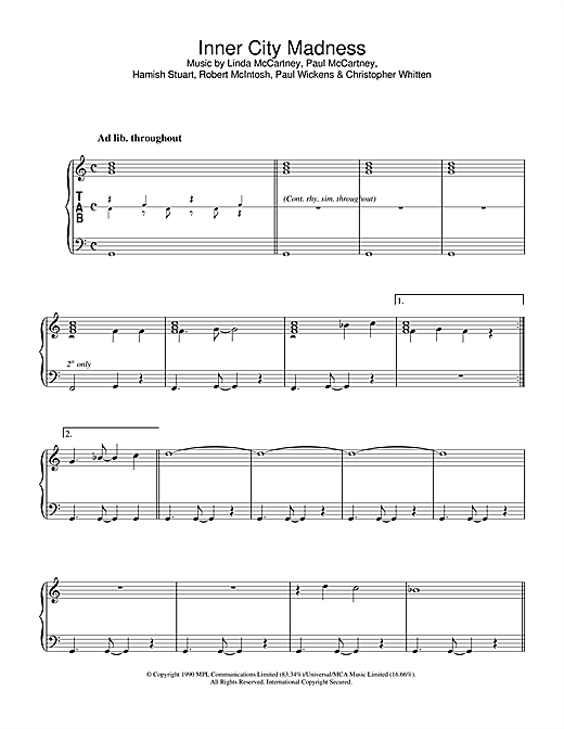 Inner City Madness Sheet Music