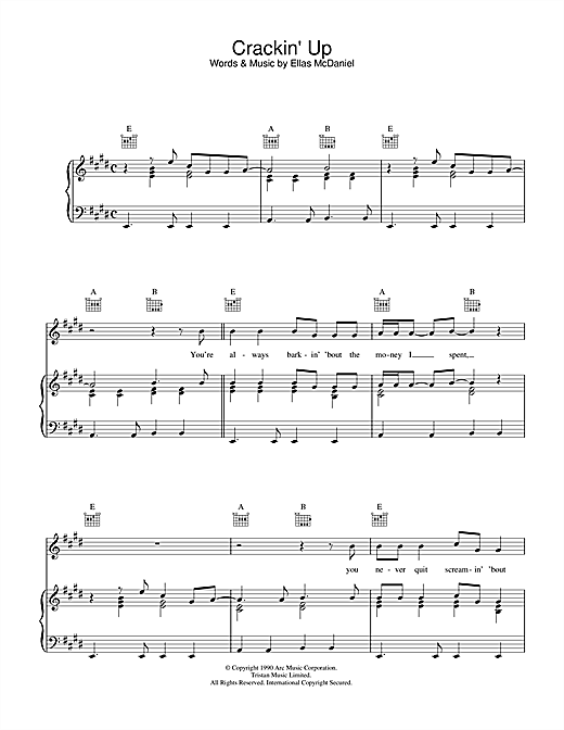 Crackin' Up (Piano, Vocal & Guitar (Right-Hand Melody))