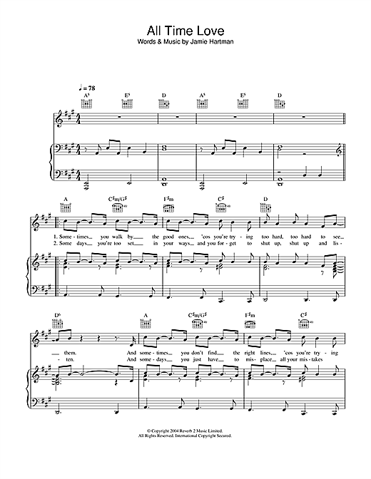 All Time Love Sheet Music