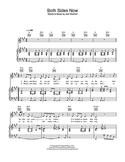 Partition piano Both Sides Now de Hayley Westenra - Piano Voix Guitare