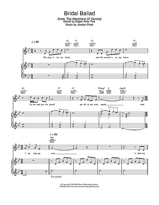 Bridal Ballad (from The Merchant Of Venice) (Piano, Vocal & Guitar)
