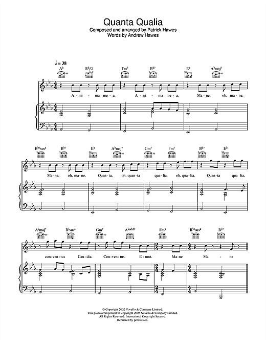 Quanta Qualia Sheet Music