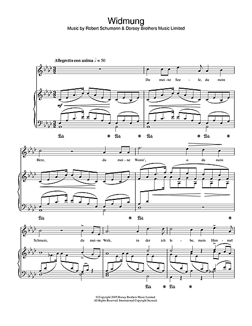 Partition piano Widmung de Robert Schumann - Piano Voix