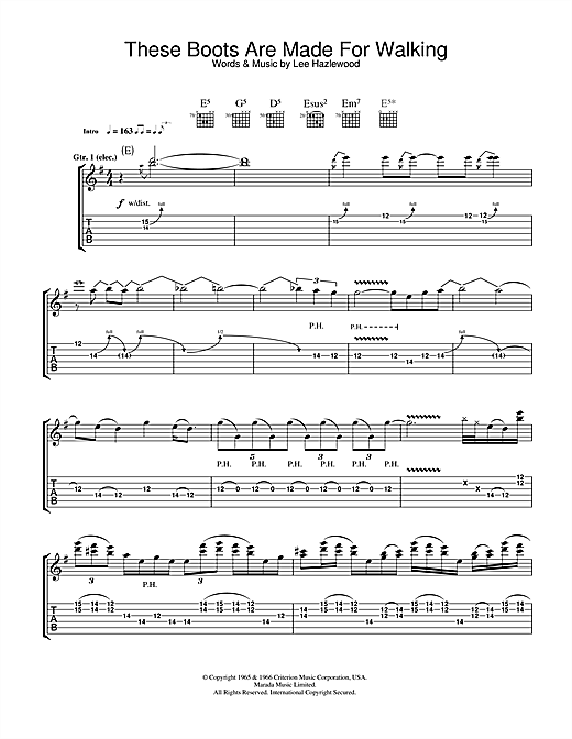 These Boots Are Made For Walking (Guitar Tab)