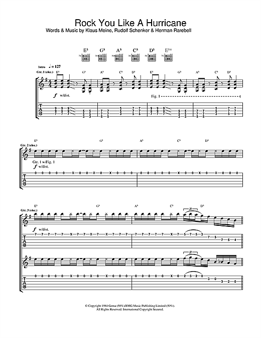 Tablature guitare Rock You Like A Hurricane de Scorpions - Tablature Guitare