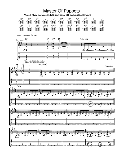 Master Of Puppets Sheet Music