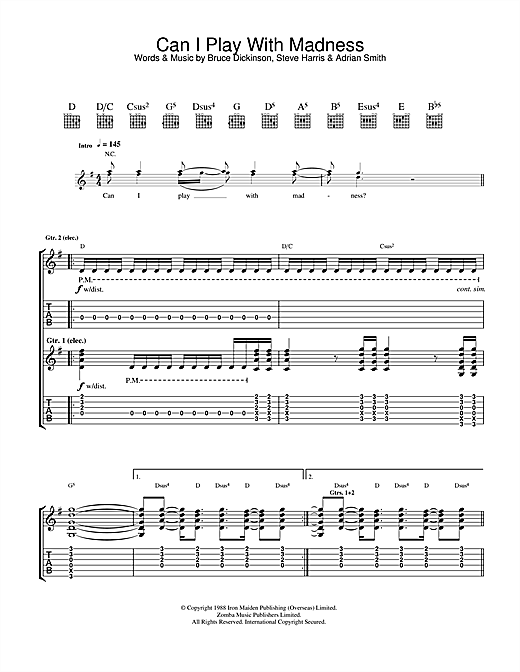 Tablature guitare Can I Play With Madness? de Iron Maiden - Tablature Guitare