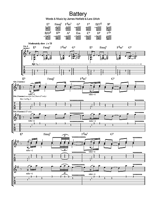 Battery Sheet Music