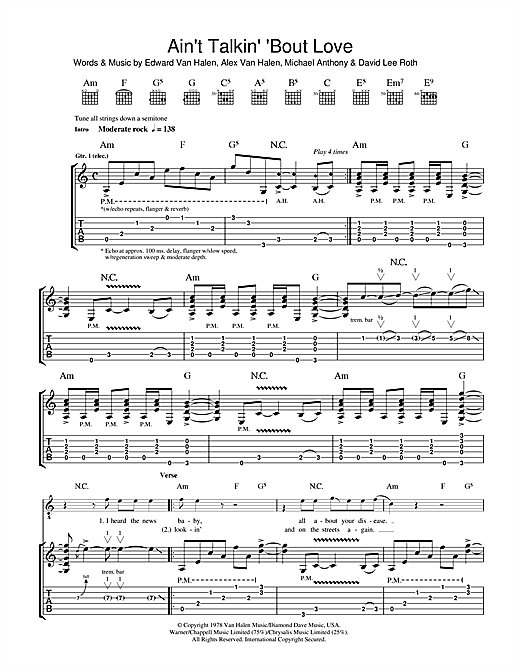 Tablature guitare Ain't Talkin' 'Bout Love de Van Halen - Tablature Guitare