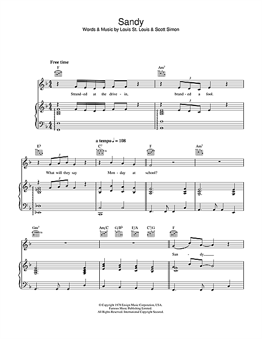 Sandy (from Grease) Sheet Music