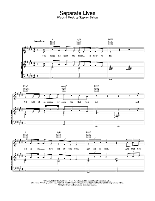 Separate Lives Sheet Music