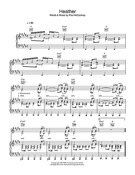 Heather Sheet Music