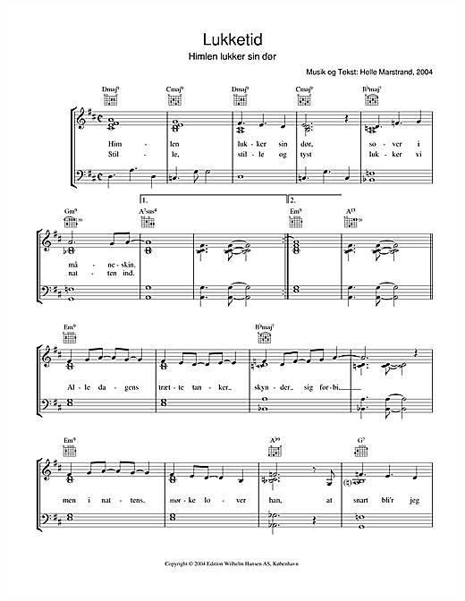 Lukketid (Piano, Vocal & Guitar (Right-Hand Melody))