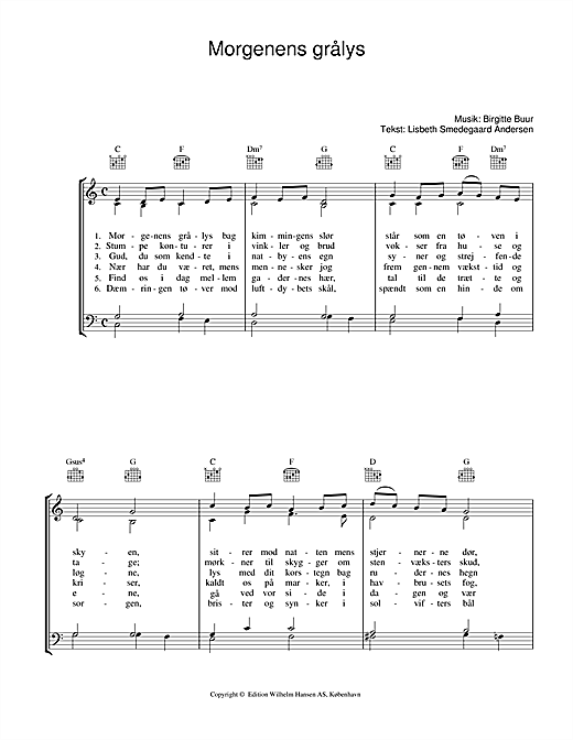 Morgenens Grålys Sheet Music