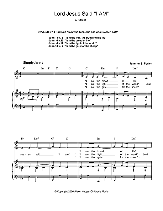 Lord Jesus Said 'I Am' (Piano, Vocal & Guitar (Right-Hand Melody))