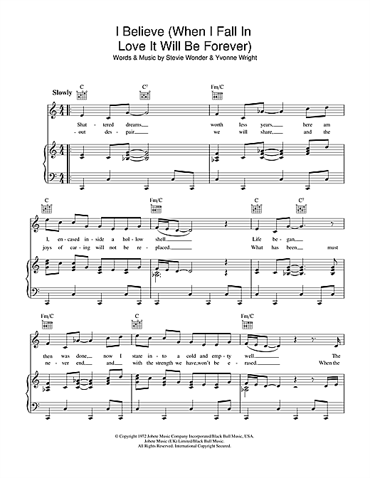 I Believe (When I Fall In Love It Will Be Forever) Sheet Music