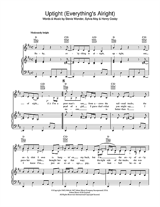Uptight (Everything's Alright) Sheet Music