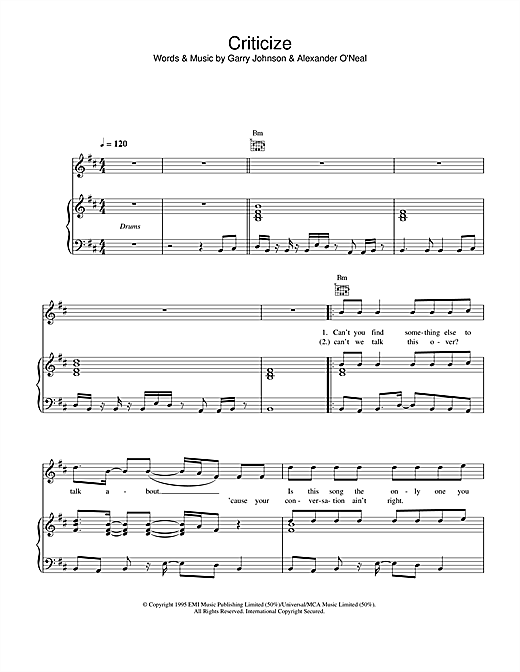 Criticize Sheet Music