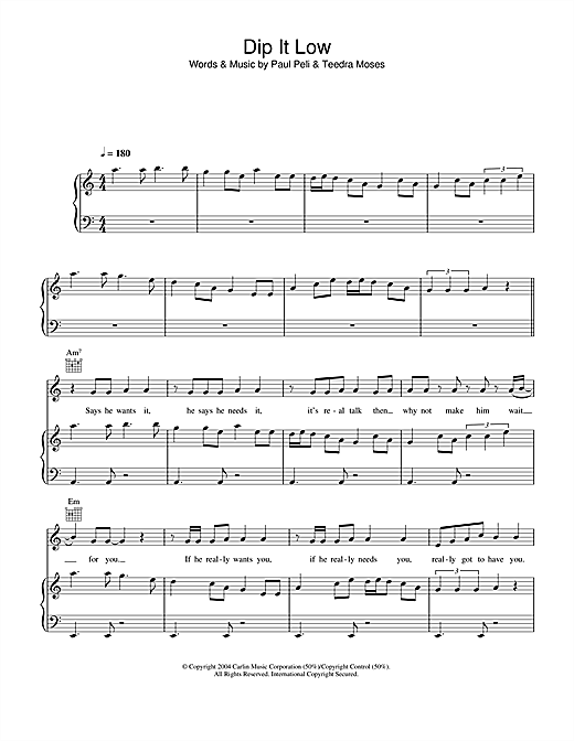 Dip It Low Sheet Music