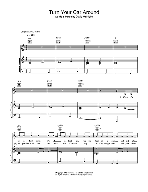 Turn Your Car Around Sheet Music