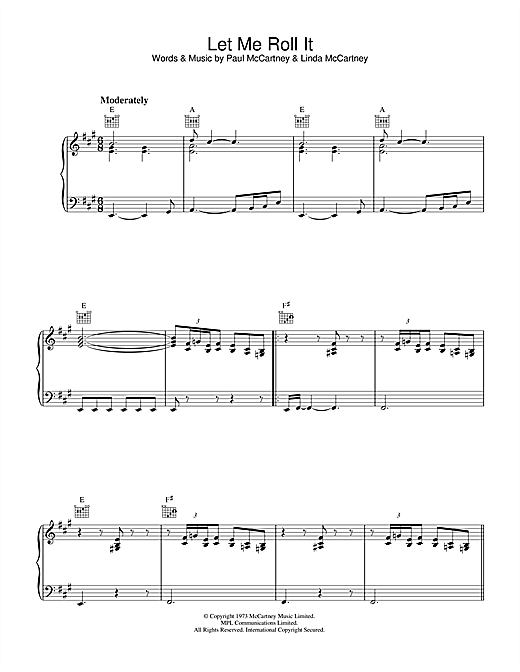 Let Me Roll It (Piano, Vocal & Guitar (Right-Hand Melody))