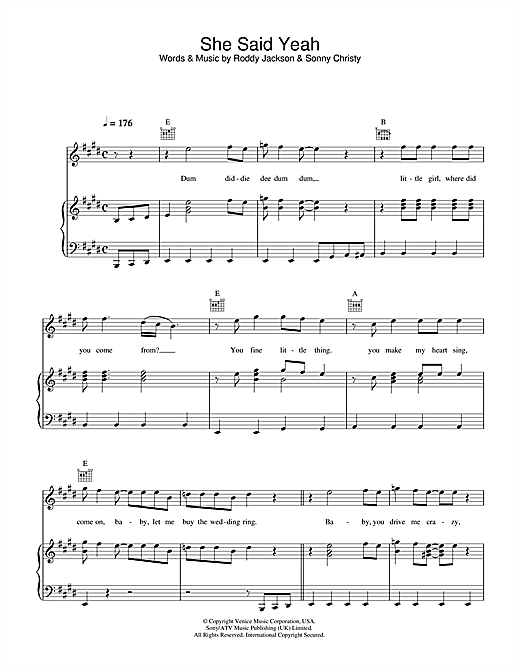 She Said Yeah (Piano, Vocal & Guitar (Right-Hand Melody))