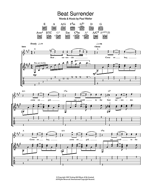 Beat Surrender Sheet Music