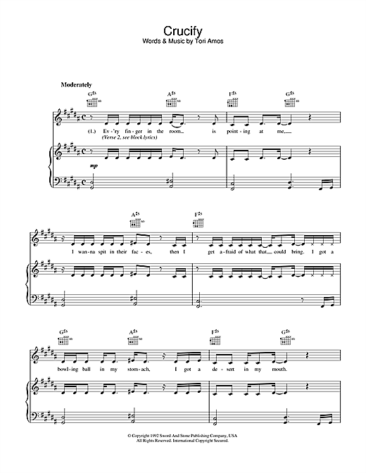 Crucify (Piano, Vocal & Guitar (Right-Hand Melody))