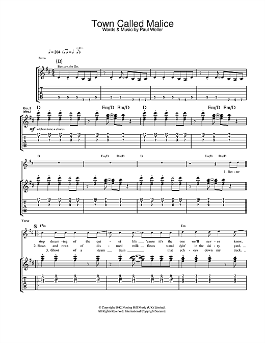 Tablature guitare Town Called Malice de The Jam - Tablature Guitare