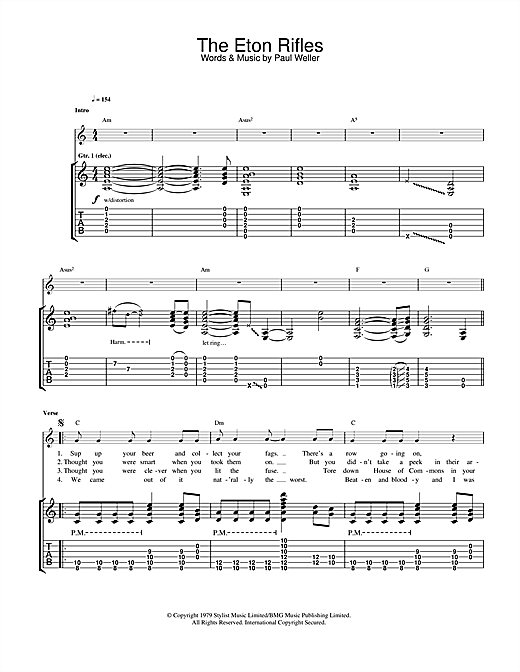 Tablature guitare The Eton Rifles de The Jam - Tablature Guitare