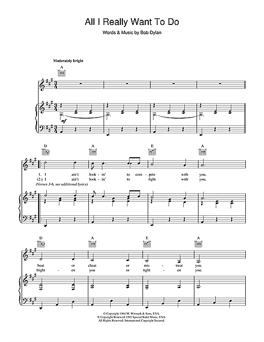 All I Really Want To Do Sheet Music