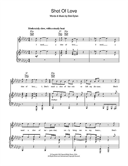 Shot Of Love (Piano, Vocal & Guitar (Right-Hand Melody))