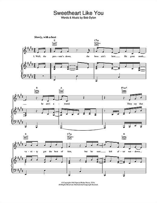 Sweetheart Like You (Piano, Vocal & Guitar (Right-Hand Melody))