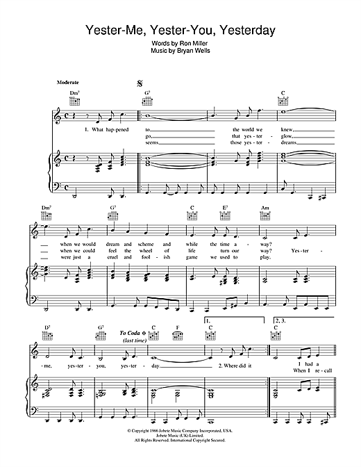 Yester-Me, Yester-You, Yesterday Sheet Music