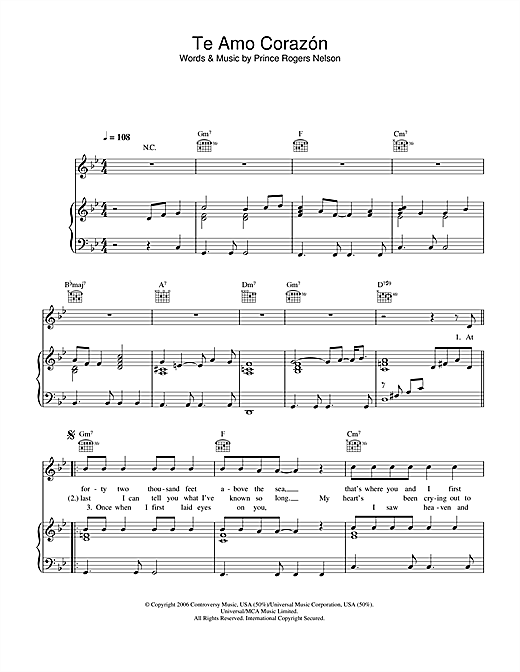 Te Amo Corazon Sheet Music
