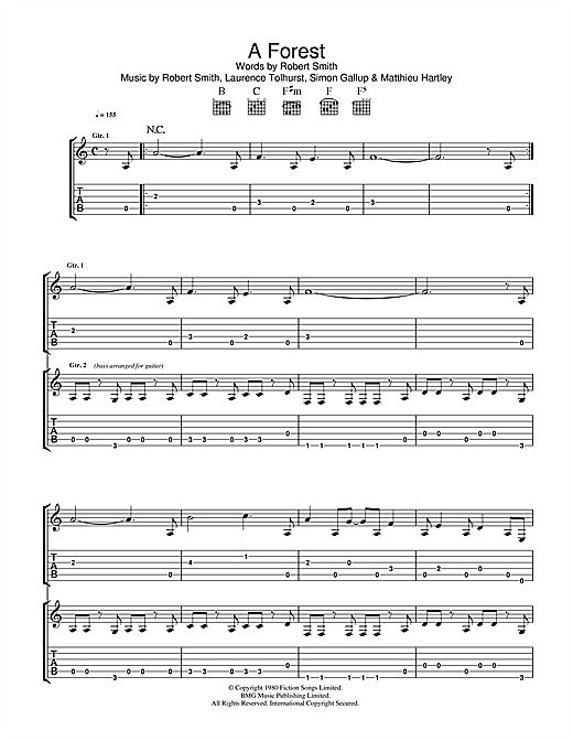 Tablature guitare A Forest de The Cure - Tablature Guitare