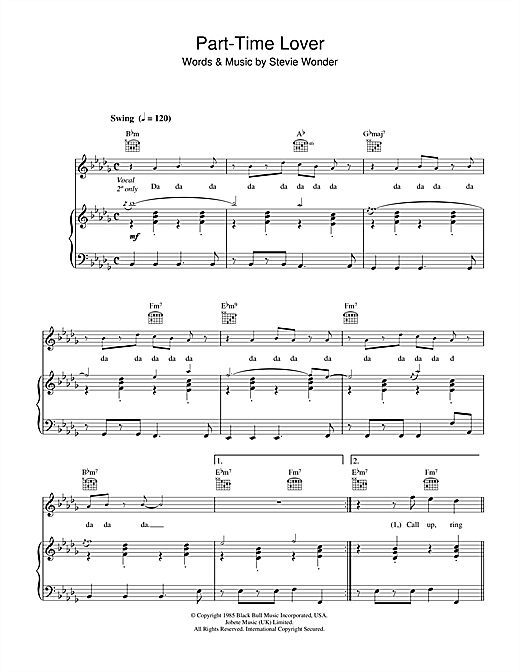 Part-Time Lover Sheet Music