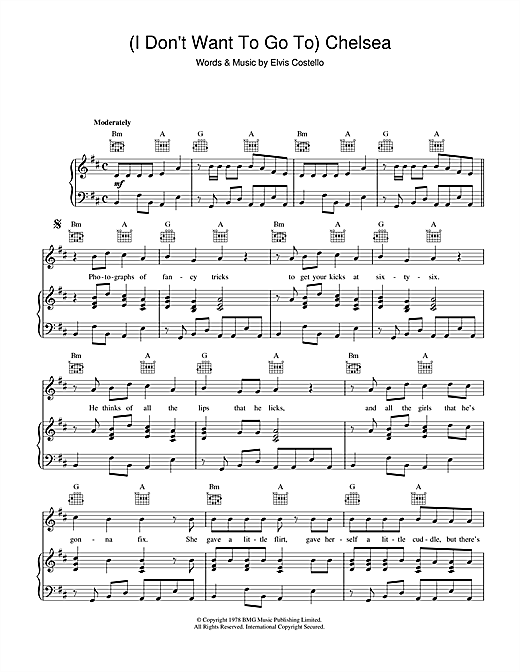 (I Don't Want To) Go To Chelsea Sheet Music