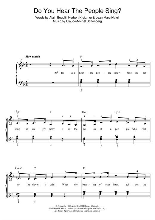 Do You Hear The People Sing From Les Miserables Sheet Music By