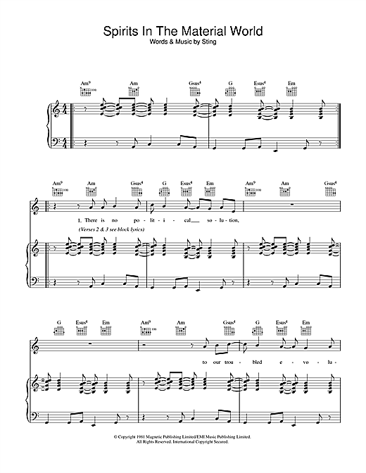 Spirits In The Material World Sheet Music