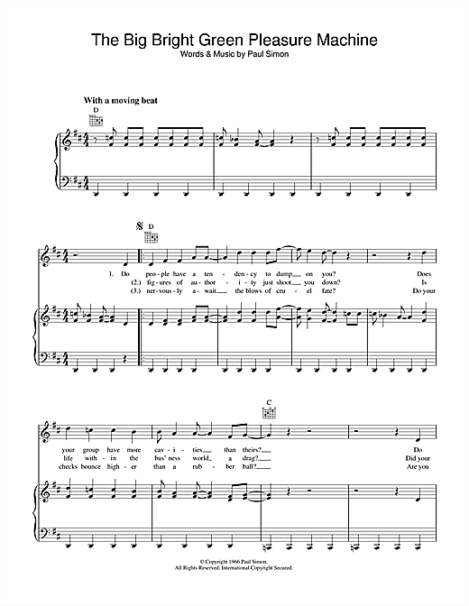 The Big Bright Green Pleasure Machine Sheet Music