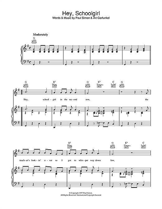 Hey Schoolgirl Sheet Music