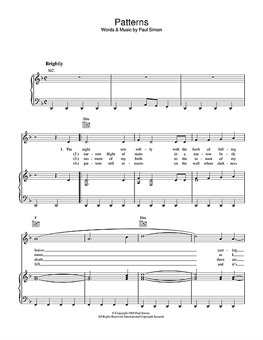 Partition piano Patterns de Simon & Garfunkel - Piano Voix Guitare (Mélodie Main Droite)