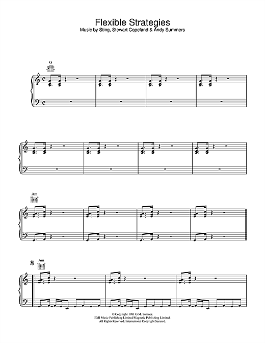 Partition piano Flexible Strategies de The Police - Piano Voix Guitare